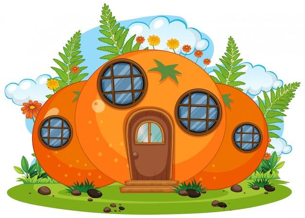 Casa naranja de fantasía
