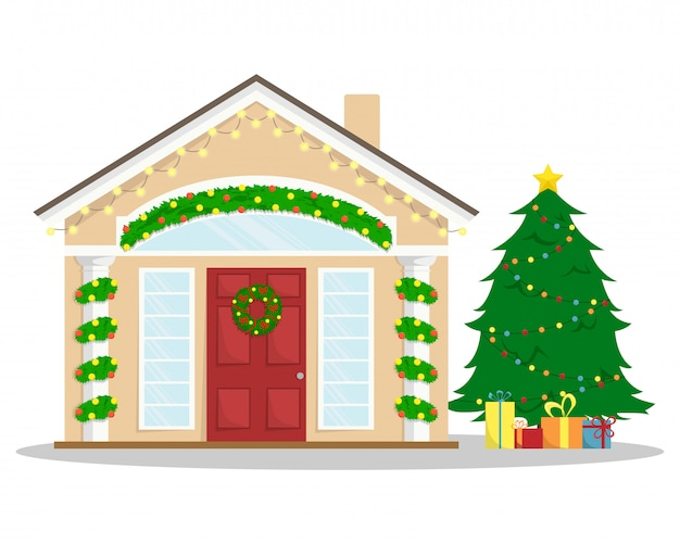 Casa de navidad con decoración de año nuevo. vacaciones de invierno. corona de navidad. ilustración plana de invierno. árbol de navidad con regalos.