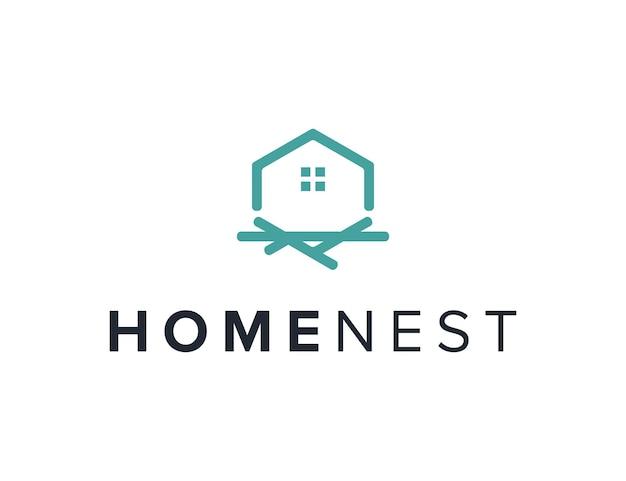 Casa y nido contorno simple elegante creativo geométrico moderno diseño de logotipo