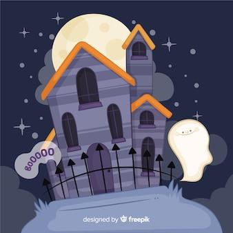 Casa en una noche de luna llena