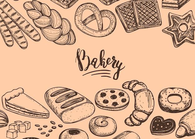 Casa de pan dibujado a mano vintage