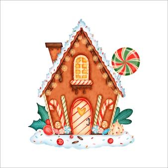 Casa de pan de jengibre de navidad de dibujos animados lindo con chocolate, dulces, piruletas y bastones de caramelo