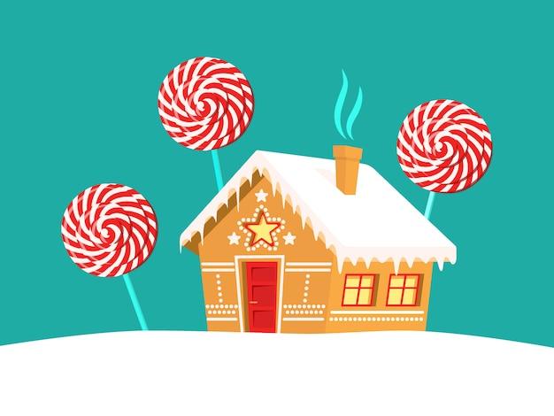 Casa de pan de jengibre y piruletas a su alrededor. navidad, año nuevo, tarjeta de vacaciones de invierno