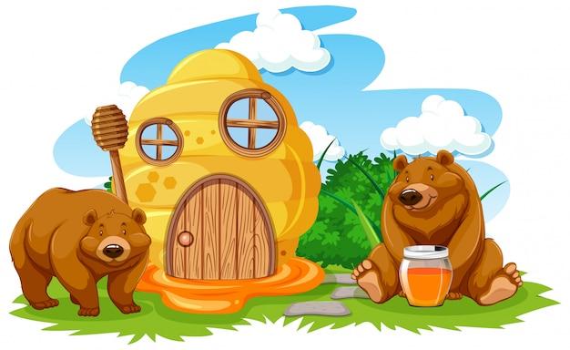 Casa de panal con estilo de dibujos animados de dos osos sobre fondo blanco