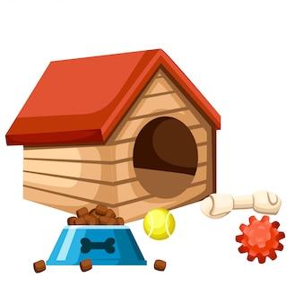 Casa de perro y cuenco con comida. jugando pelotas y huesos. ilustración sobre fondo blanco. página del sitio web y aplicación móvil