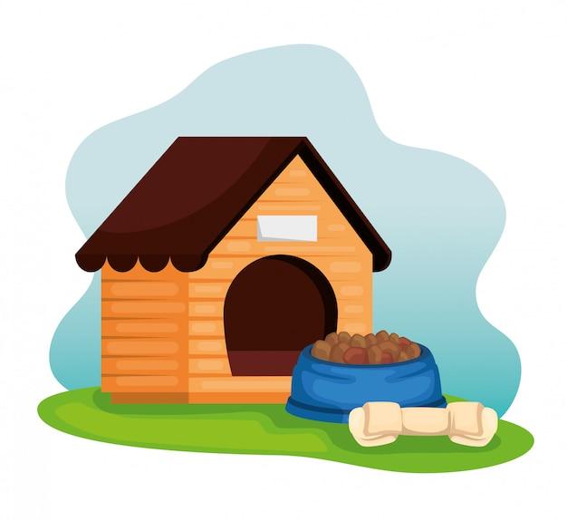 Casa de perro de madera con plato de comida y hueso