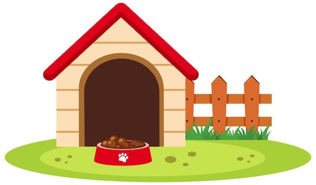Casa de perro con plato de comida aislado