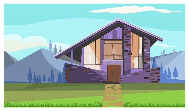 Casa de piedra moderna con ventanas panorámicas en el campo