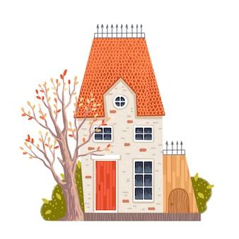 Casa pintada en otoño con una caja para el perro con madera y arbustos.
