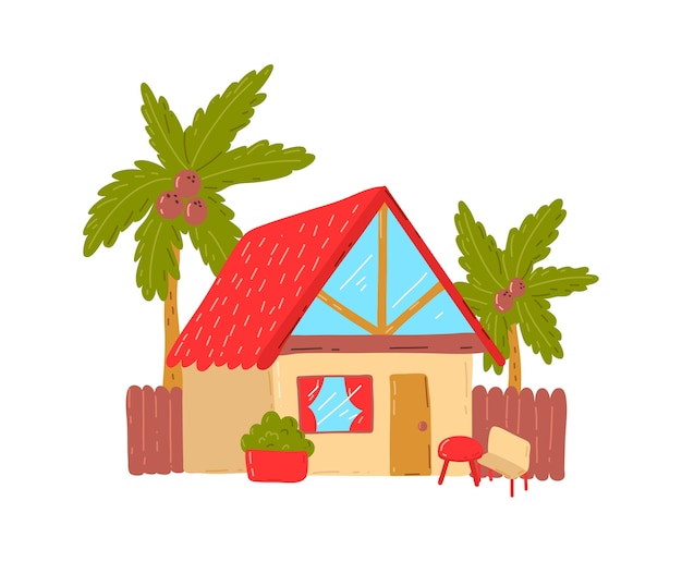 Casa de playa tropical, vacaciones de verano activas y calurosas, cabaña junto al mar, ilustración de estilo de dibujos animados de diseño, aislado en blanco. palmera verde cerca de la cabaña, descanso en la isla, acogedor edificio de bungalows de madera