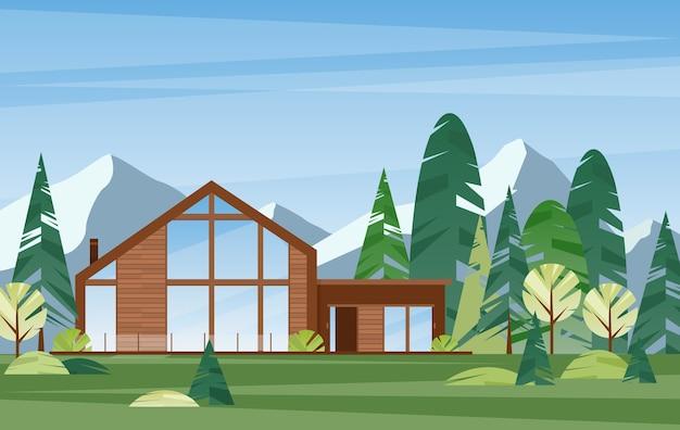Casa de pueblo moderna. edificio de madera contemporáneo en el bosque. casa de campo. villa en montaña