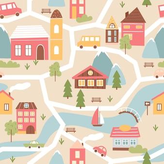 Casa de pueblo con río, textura de patrones sin fisuras en ilustración de colores lindos.
