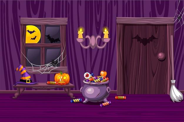 Casa púrpura, ilustración interior sala de madera con símbolos de halloween