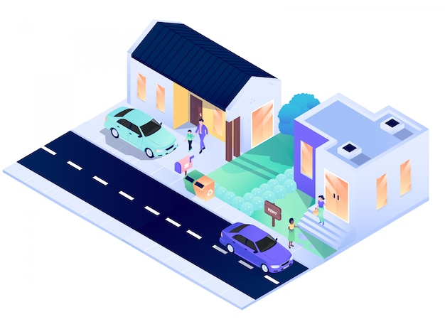 Casa residencia ciudad interior exterior isométrico vector diseño ilustración