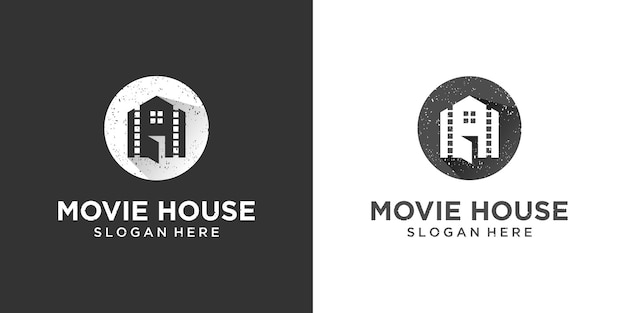 Casa retro vintage con inspiración en el diseño del logotipo de la película de carrete