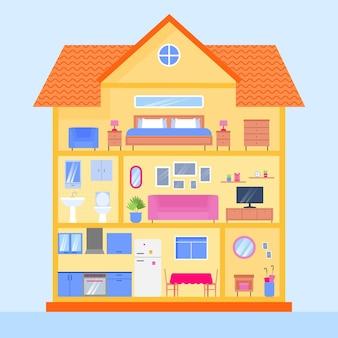 Casa en sección transversal ilustrada