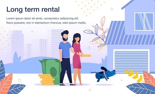 Casa servicio de alquiler a largo plazo flat banner