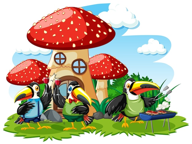 Casa de setas con estilo de dibujos animados de tres pájaros sobre fondo blanco