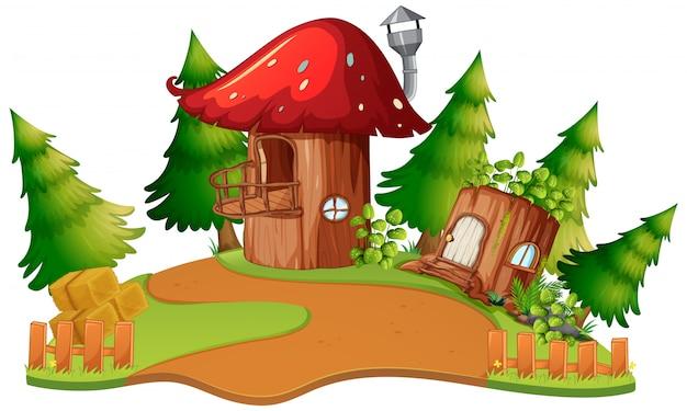 Una casa de setas de fantasía.