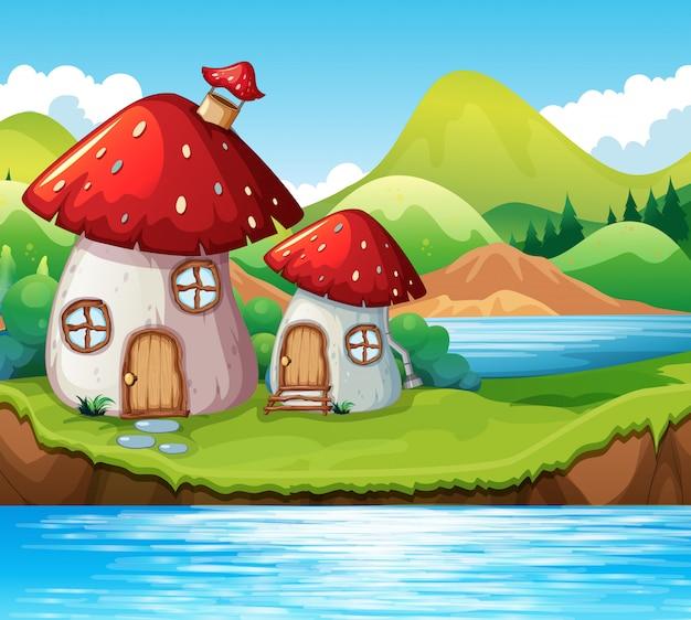 Casa de setas junto a un lago.
