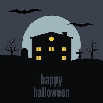 Casa solitaria en el fondo de la luna y la inscripción feliz halloween. ilustración vectorial