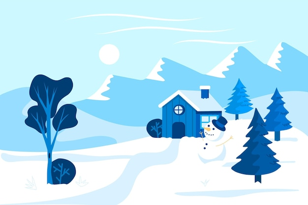 Casa solitaria en invierno