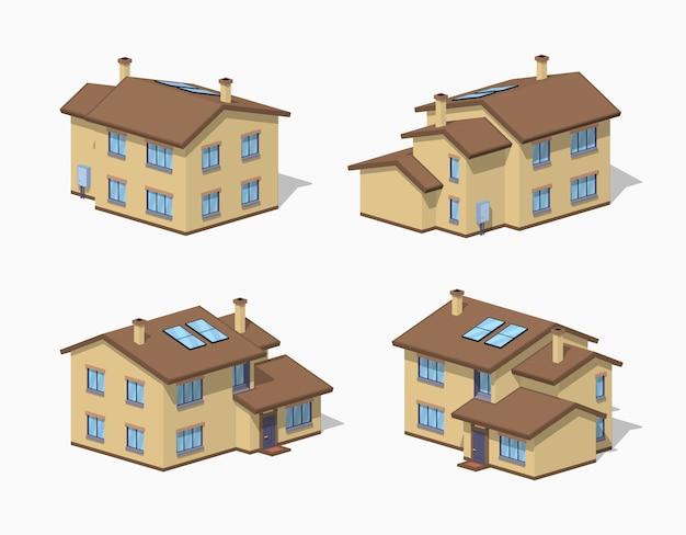 Casa suburbana de baja poli