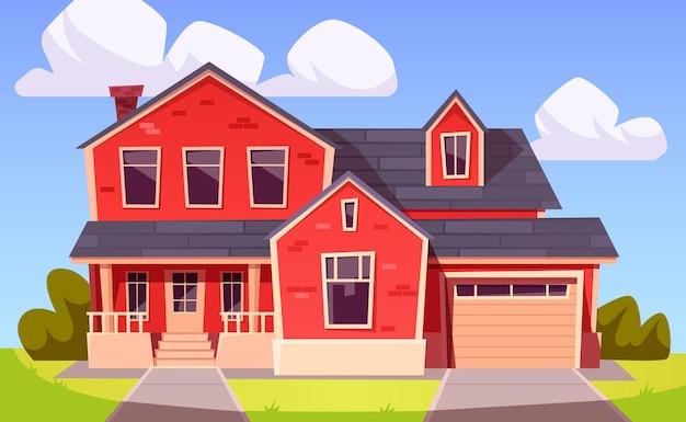 Casa suburbana. edificio residencial de ladrillo rojo con garaje.