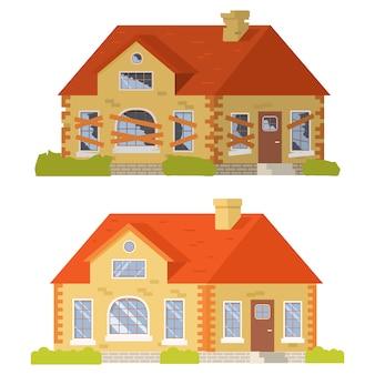 Casa suburbio antes y después de la reparación.