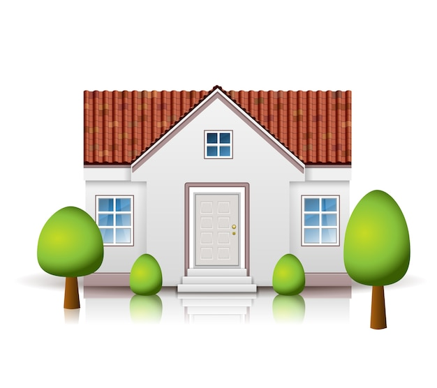 Casa con techo de tejas aislado con árbol
