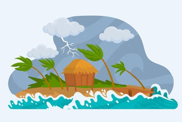 Casa en tormenta con viento y lluvia