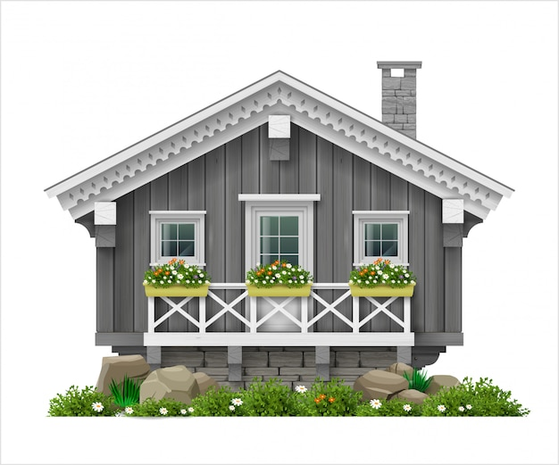 Casa tradicional finlandesa de madera escandinava.