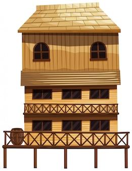 Casa de tres pisos de madera.