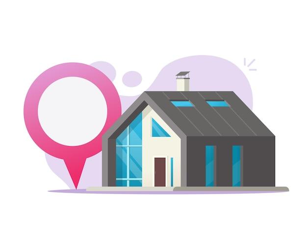 Casa, ubicación, pin, puntero, marcador, ilustración, plano, caricatura