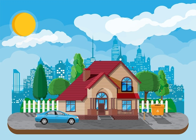 Casa unifamiliar suburbana. icono de casa de madera de campo.