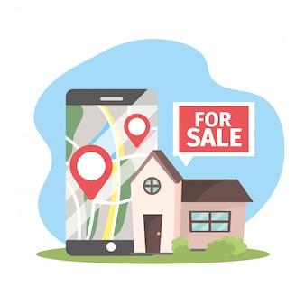Casa en venta y smartphone con ubicación de mapa.