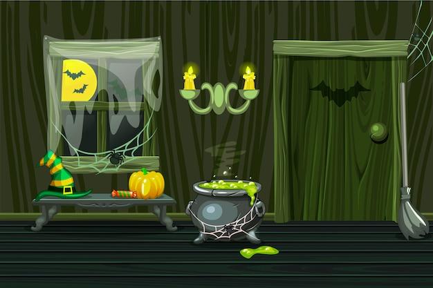 Casa verde, ilustración interior sala de madera con símbolos de halloween