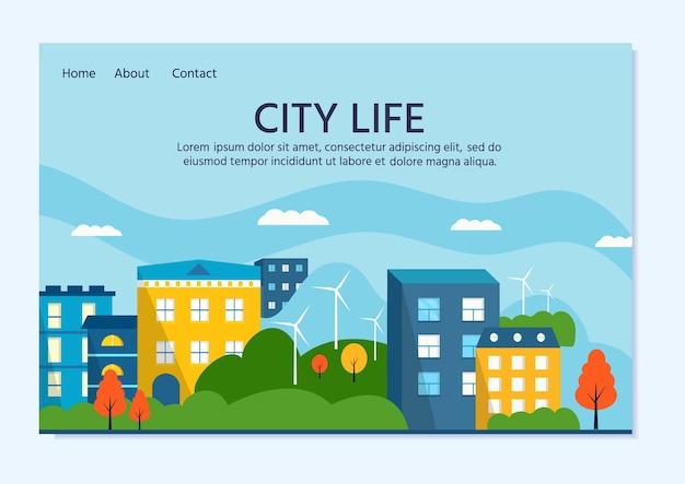Casa verde moderna con paneles solares y aerogeneradores. energía alternativa ecológica. paisaje de la ciudad del ecosistema. ilustraciones vectoriales planas