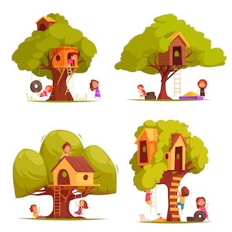Casas en el árbol con niños durante la ilustración de los juegos