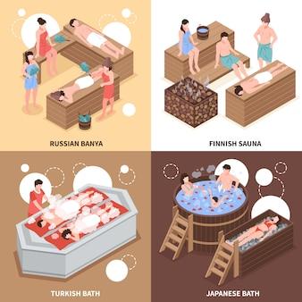 Casas de baños japonesas rusas y turcas y sauna finlandesa concepto de diseño isométrico aislado ilustración vectorial