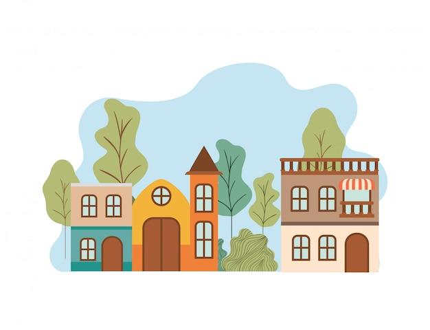 Casas de barrio en paisaje