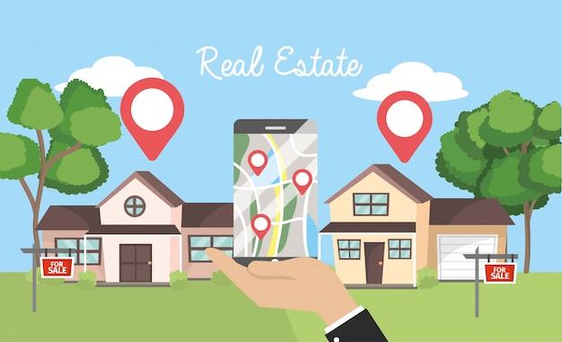 Casas de bienes raíces y hombre de negocios con mapa de teléfono inteligente