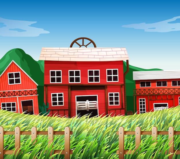 Casas de campo con escena de graneros.