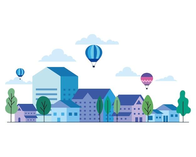 Casas de la ciudad con diseño de árboles y nubes de globos aerostáticos, arquitectura y tema urbano