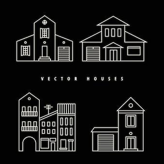 Casas conjunto contorno blanco dibujado sobre un fondo negro.