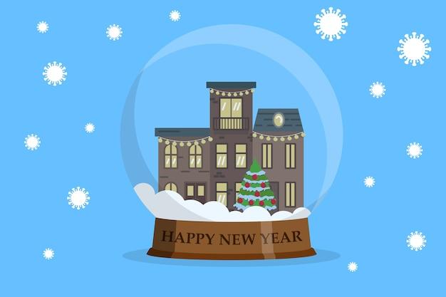 Casas dentro de una bola de nieve con la caída de la bacteria covid-19. concepto de feliz año nuevo durante el coronavirus. en diseño plano.