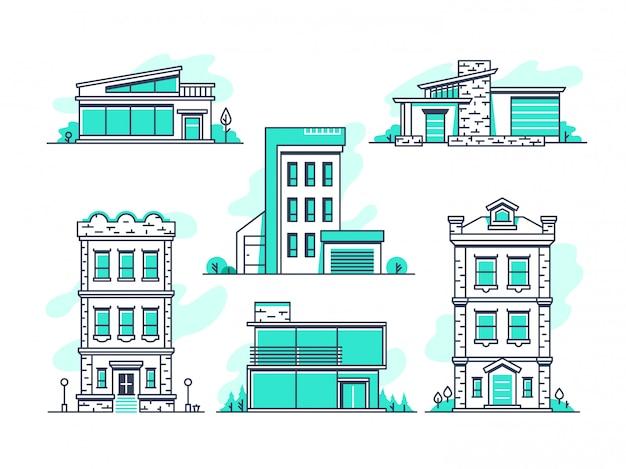 Casas y edificios propiedad alojamiento. esquema de la arquitectura moderna aislado