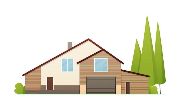 Casas ilustración exterior vista frontal con techo. fachada de la casa con puertas y ventanas. casa moderna casa de pueblo. edificio inmobiliario icono aislado ilustración