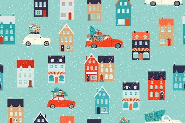 Casas de invierno para navidad y coche retro rojo con un abeto y regalos. patrón sin costuras