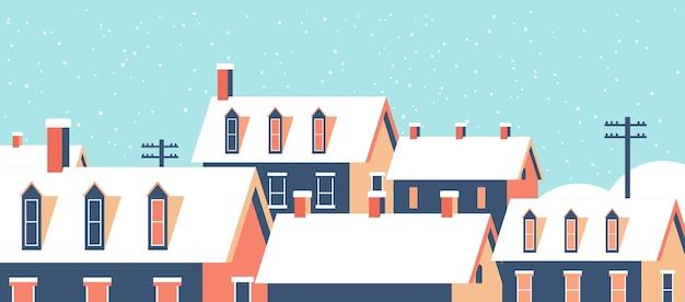 Casas de invierno con nieve en los techos calle de la aldea nevada feliz navidad tarjeta de felicitación plana horizontal primer plano ilustración vectorial